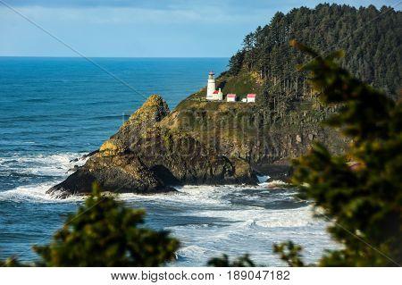 Iconic lighthouse situated on Oregon coast along Hwy 101
