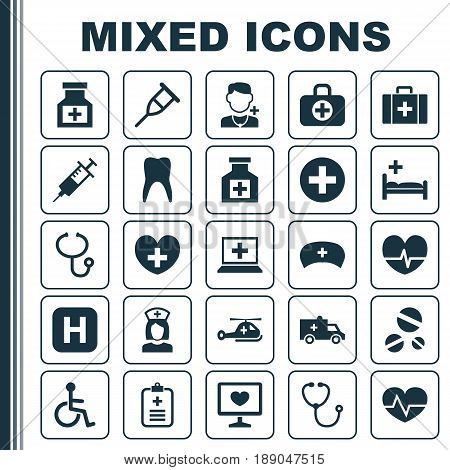 Antibiotic Icons Set. Collection Of Beating, Copter, Dental And Other Elements. Also Includes Symbols Such As Medicine, Rhythm, Review.