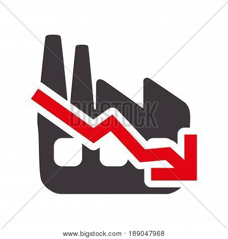 factory with low production statements vector illustration