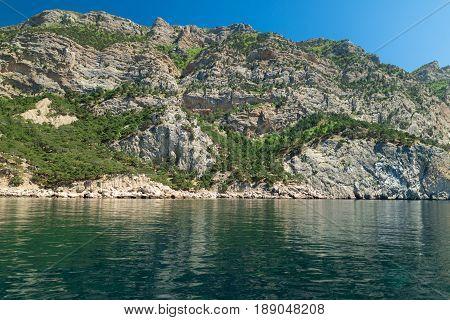 Sea landscape in the bay balaclava open black sea