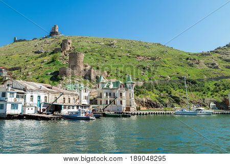 Bay of Balaclava Simferopol the old fortifications on the hill