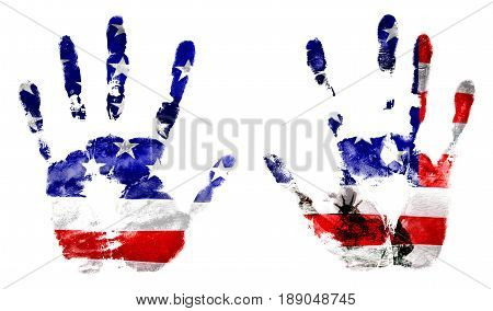 The flag of the United States and statue of liberty in the hands printed. Design holidays stamp