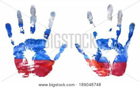 The imprint of the hands of the Russian flag colors gouache. The flag of the Russian Federation