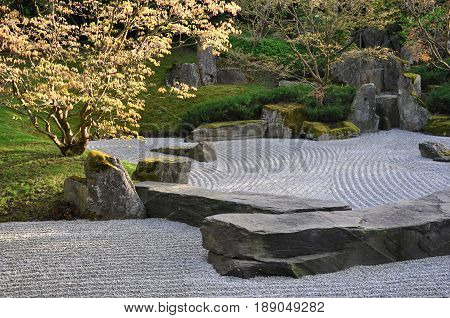 Berlin, Germany - April 13, 2017: Japanese garden of stones in the Gardens of the world in Berlin.