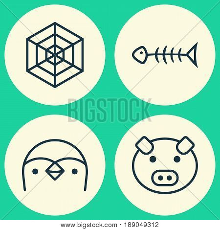 Zoology Icons Set. Collection Of Seafood Skeleton, Piglet, Cobweb And Other Elements. Also Includes Symbols Such As Diver, Spider, Animal.