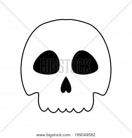 line skull danger and caution alert vector illustration