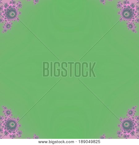 Flowery soft roses decorations in corner of green square background