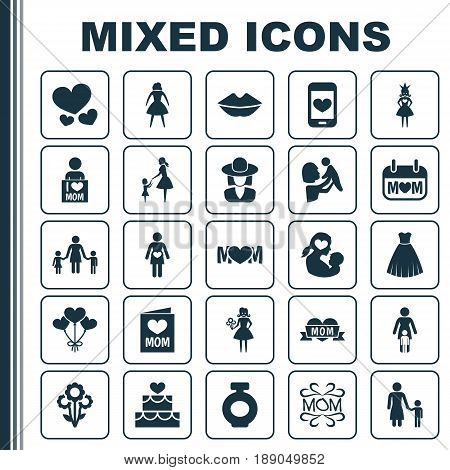 Mothers Day Icon Design Concept. Set Of 25 Such Elements As Invitation, Evening Gown And Relations. Beautiful Symbols For Care, Mother And Baby.