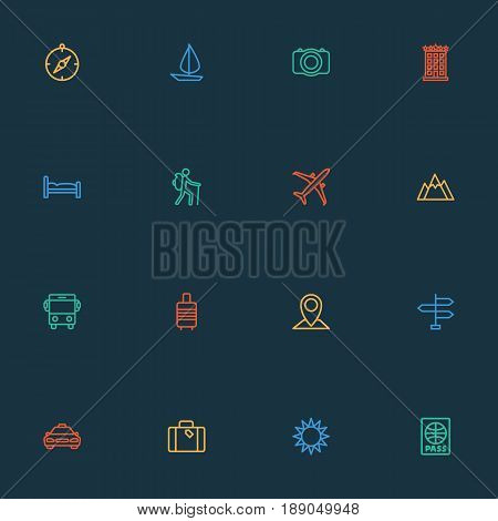 Exploration Outline Icons Set. Collection Of Traveler, Luggage, Video And Other Elements. Also Includes Symbols Such As Cab, Taxicab, Mount.