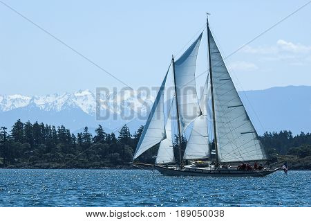 Schooner Martha underway in vicinity of Race Rocks Victoria British Columbia