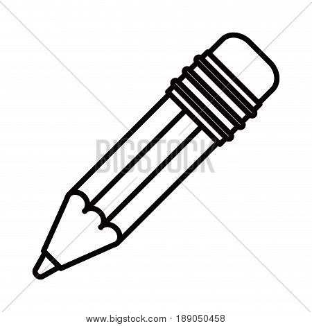 sketch silhouette image pencil with eraser vector illustration