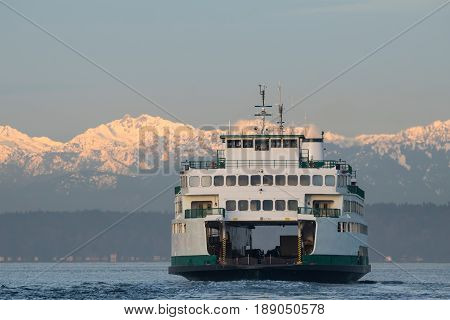 Car ferry arriving at Seattle Washington State