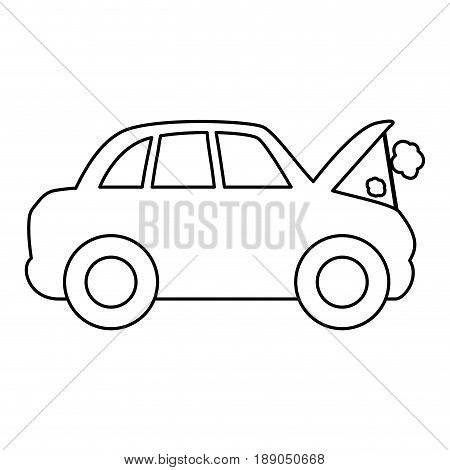 line car burnt engine and dangerous diagnostic vector illustration