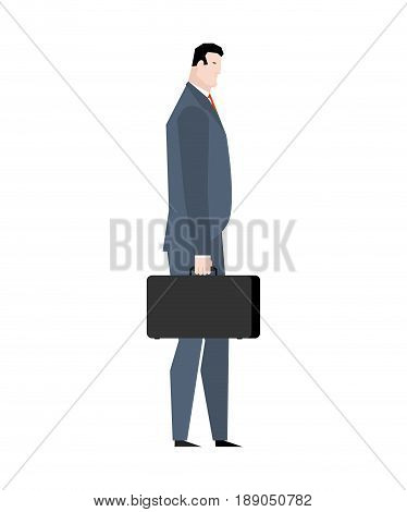Businessman With Case Goes Isolated. Manager With Suitcase