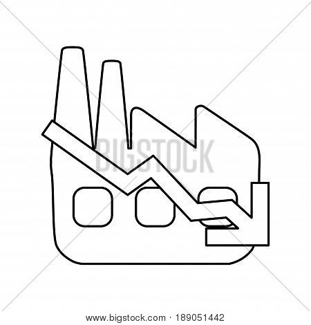line factory with low production statements vector illustration