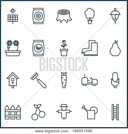 Farm Icons Set. Collection Of Gardening Shoes, Floret, Fertilizer And Other Elements. Also Includes Symbols Such As Bailer, Water, Home.
