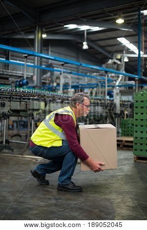 Attentive factory worker carrying cardboard box in drinks production factory