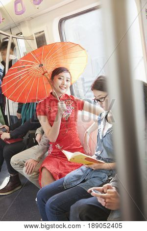 Chinese people riding subway