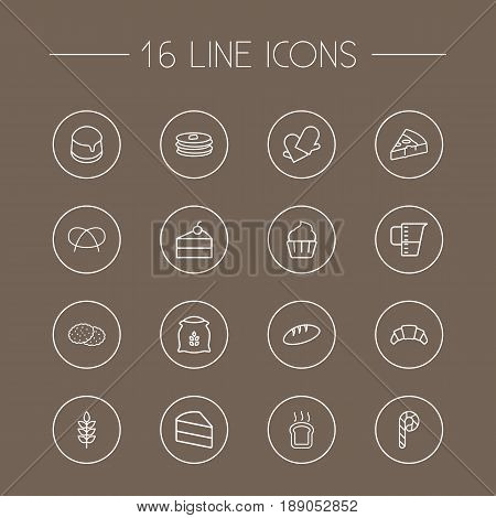 Set Of 16 Pastry Outline Icons Set.Collection Of Cupcake, Croissant, Bread And Other Elements.