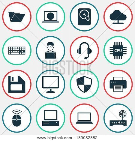 Digital Icons Set. Collection Of Defense, Motherboard, Hdd And Other Elements. Also Includes Symbols Such As Monitor, Notebook, Modem.