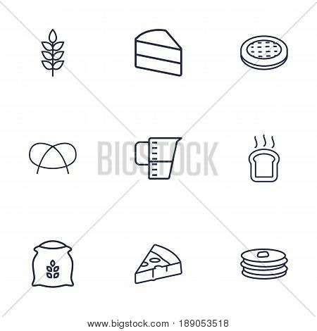 Set Of 9 Cooking Outline Icons Set.Collection Of Measuring Cup, Wheat, Cake And Other Elements.