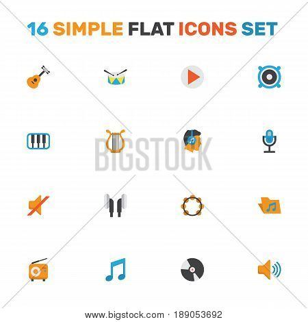 Music Flat Icons Set. Collection Of Karaoke, Audio, Male And Other Elements. Also Includes Symbols Such As Musical, Loudspeaker, Pianoforte.