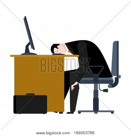 Businessman Tired Of Work. Head Is On Table. Manager Is Weary. Office Workplace. Armchair And Comput