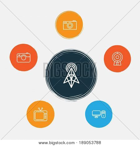 Device Icons Set. Collection Of Web Discussing, Photographing, Digital Camera And Other Elements. Also Includes Symbols Such As Television, Web, Video.