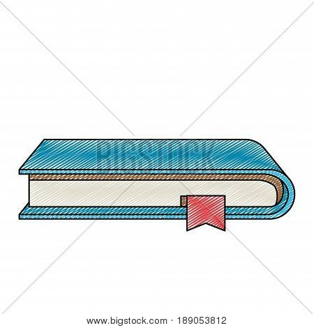 color crayon stripe silhouette of book with bookmark vector illustration