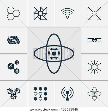 Machine Learning Icons Set. Collection Of Radio Waves, Algorithm Illustration, Laptop Ventilator And Other Elements. Also Includes Symbols Such As Cells, Gear, Brightness.