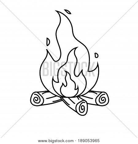 line cute firewood to keep warm vector illustration