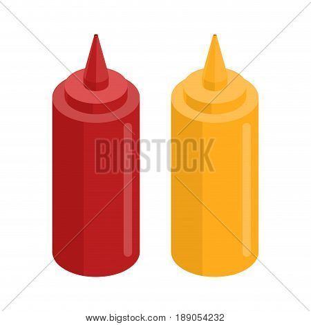 Mustard And Ketchup Bottle For Fast Food. Food Isolated