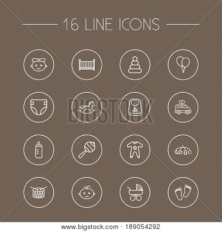 Set Of 16 Kid Outline Icons Set.Collection Of Baby, Clockwork Car, Rocking Horse And Other Elements.