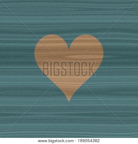 Indigo blue and beige wooden wood natural love symbol heart shape