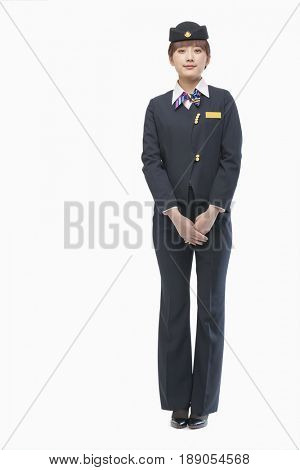 Serious Chinese flight attendant