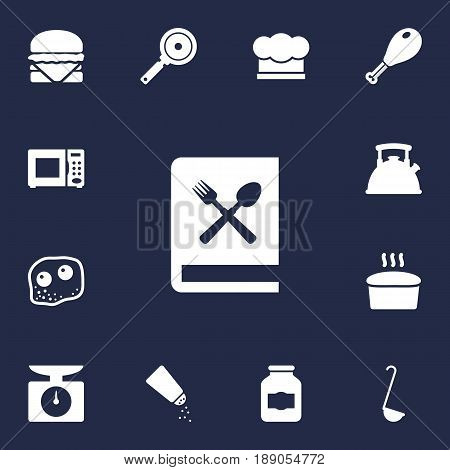 Set Of 13 Cooking Icons Set.Collection Of Non-Stick, Weighing Machine, Chef Cap And Other Elements.