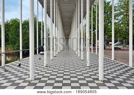 Boblingen, Baden-Wurttemberg, Germany - April 23, 2017: Wandelhalle Portal in Boblingen. Modern structure of white columns in perspective.