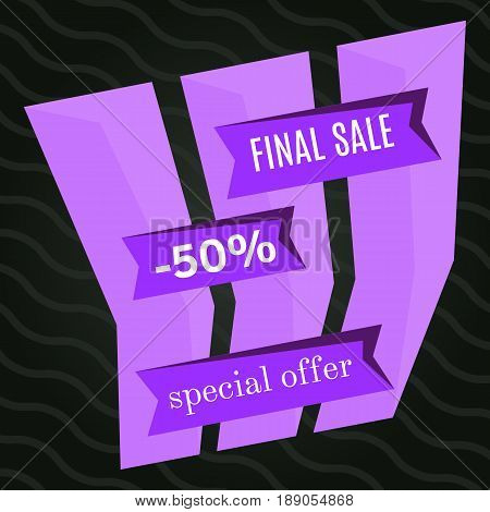 Final sale purple bannes on black background. Vector background with colorful design elements. Vector illustration.