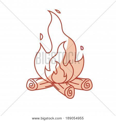 silhouette cute firewood to keep warm vector illustration