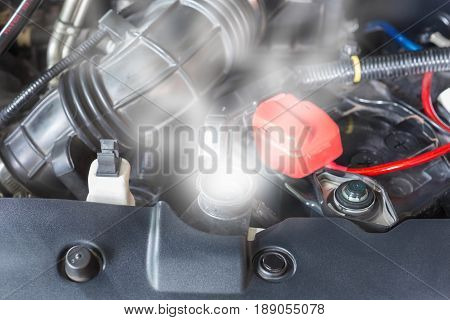 Car engine over heat due to no water in radiator and cooling system.