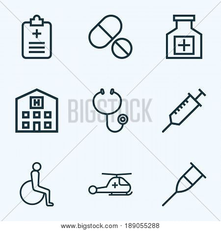 Drug Outline Icons Set. Collection Of Stand , Building , Hear Elements. Also Includes Symbols Such As Tool, Prick, Pellet.