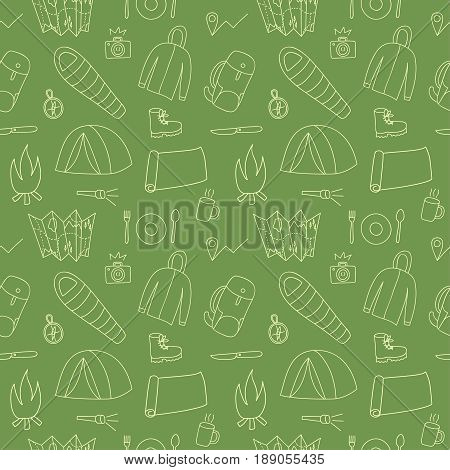 Hand drawn doodle seamless pattern of hiking and camping stuff. Traveling objects background.