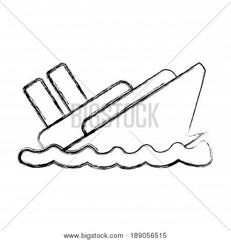 figure emergency ship flood and natural disaster vector illustration