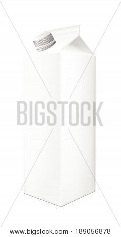 White cardboard package  with cap for beverage, juice and milk