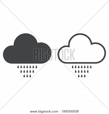 Drizzle weather icon. solid and outline isolated on white .
