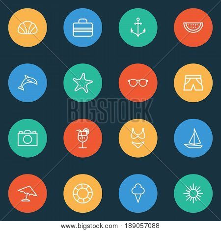 Hot Outline Icons Set. Collection Of Melon, Ice Cream, Ship And Other Elements. Also Includes Symbols Such As Life, Bikini, Briefs.