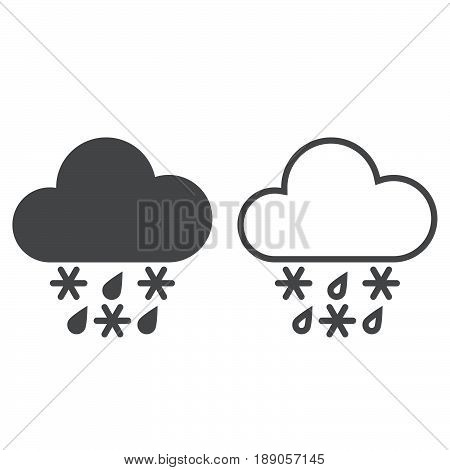 sleet weather icon. solid and outline isolated on white