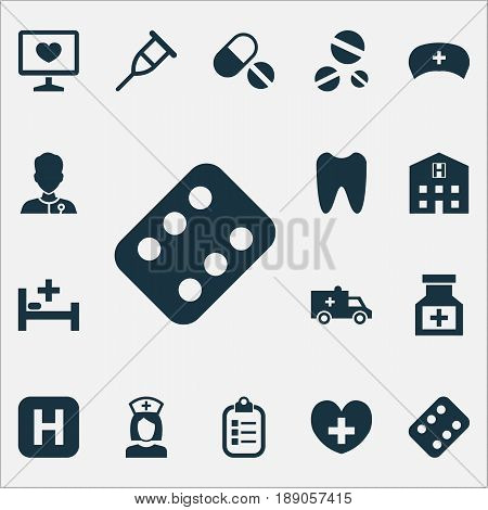 Medicine Icons Set. Collection Of Pills, Mark, Heal And Other Elements. Also Includes Symbols Such As Rack, Bed, Cap.