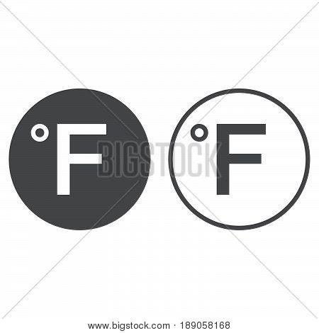 Degree sign Fahrenheit icon isolated on white .
