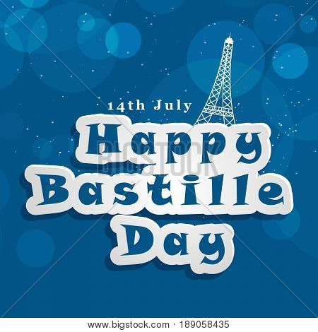 illustration of 14th July Happy Bastille Day with Bastille day text